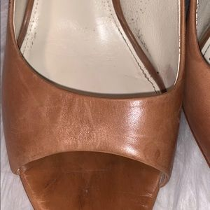 Via Spiga Shoes - Women's Brown Leather Via Spiga Open Toe Heels.